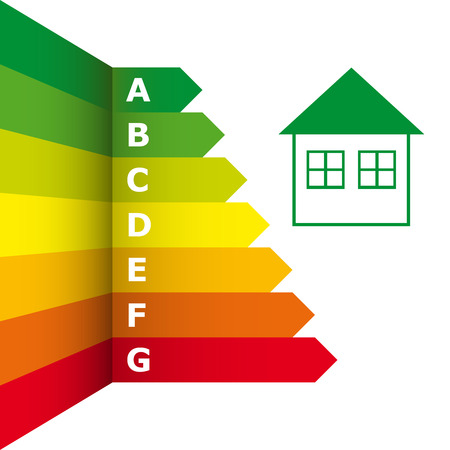 Energy efficiency rating and house icon - energy Label, vector illustration