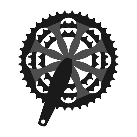 Vector bicycle cogwheel crankset sprocket. Bike crankset cassette symbol Stock Photo