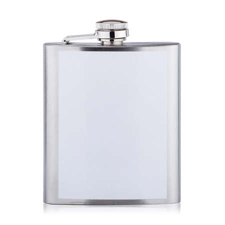 Stainless hip flask for alcohol isolated on white background