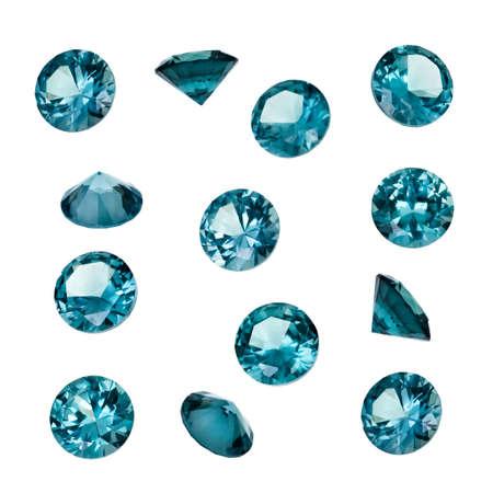 Blue Topaz gemstones isolated on white background. Luxury jewelry gems.