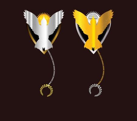 Freedom Golden and Silver bird Emblem Stock Vector - 16888804