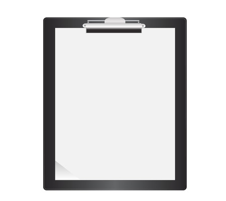 clipboard isolated: Black Clipboard  Isolated with blank paper