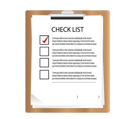 Bruin Klembord met checklist in grafische Stock Illustratie