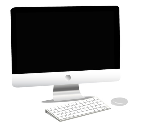 LCD tv monitor with mouse and keyboard in graphic vector Stock Vector - 16920661