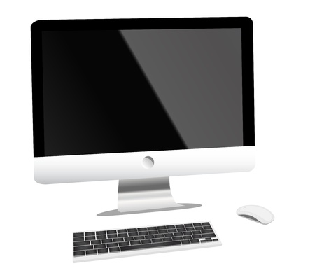 apple computer: lcd tv monitor with mouse and keyboard