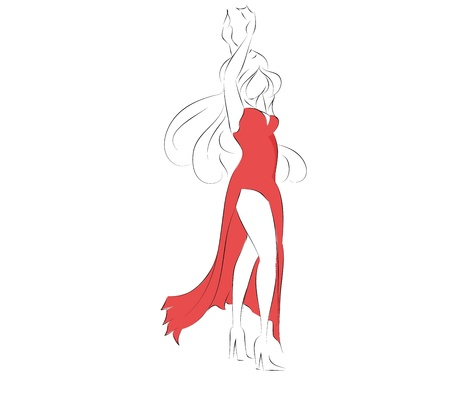 Beautiful girl dancing in red dress vector Illustration