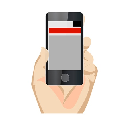 wireless telephone: Responsive Mobile Web Site Vertical With Hand Illustration