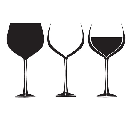 Wine glasses in graphic for use in party or restaurant artwork Illustration