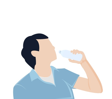 thirsty: man bottle drinking water
