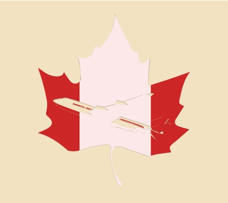 canadian maple leave plane Vector