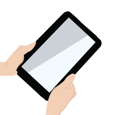 touchpad: two hand holding a touchpad pc