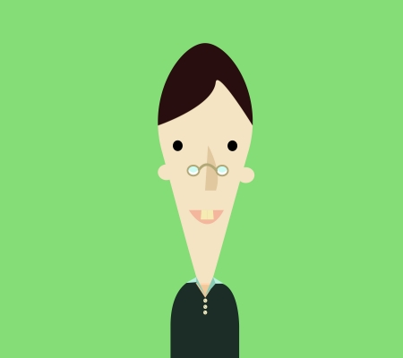 Smart boy in green background Vector