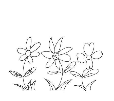 Kids flower hand scribble Stock Vector - 17695006