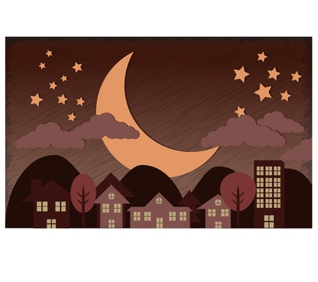 Midnight Town and big moon Stock Vector - 17695018