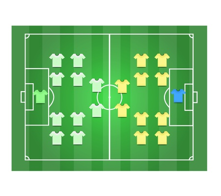 Soccer field Vertical and Footballer graphic