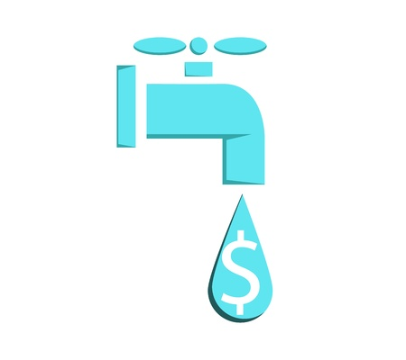 waste money: Water faucet leaking or pouring money Money concetp graphic vector eps10