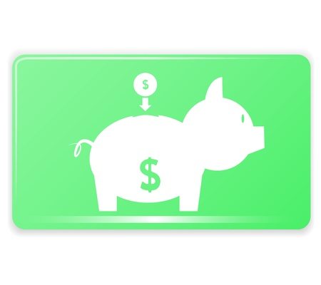 Piggy bank on Green Rectangular Graphic vector eps10 Stock Vector - 17813794