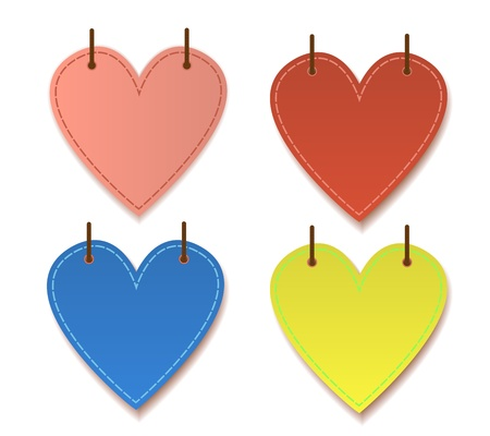 Paper hearts hanging with drop shadow graphic vector for valentine Vector