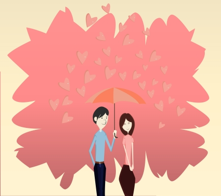 Love Umblella and rain heart poring down,illustration graphic vector eps10 Ilustração