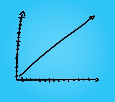 upward graph: Hand draw arrow graph graphic