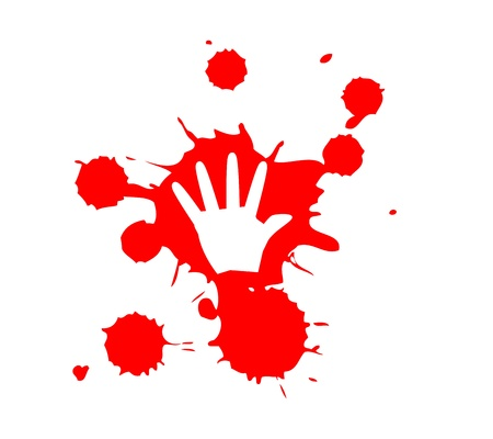 oppression: Stop Violence Blood hand print graphic Illustration