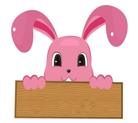 Rabbit easter with wood sign   Stock Vector - 18053764