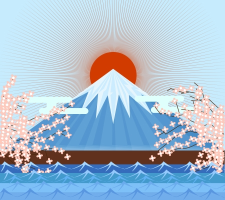 Fujiyama Japan mountain symbolic of japanese vector eps10