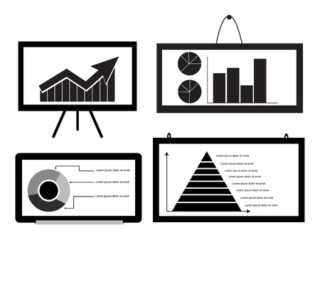 Minimal Cart ,bar Chart ,Arrow Chart Pie Chart ,Pyramid Chart on board for graphic