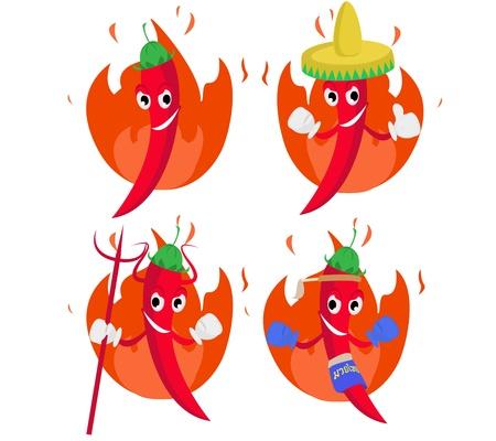 poivre noir: Piment�e conception chaude caract�re illustration
