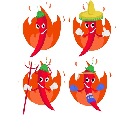 Spicy chili hot illustration character design  Vector