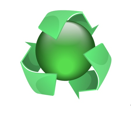 recycles: Recycles symbol with green sphere graphic vector eps10 Illustration
