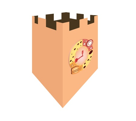 clock tower: Bread Clock Tower food illustration graphic vector eps10