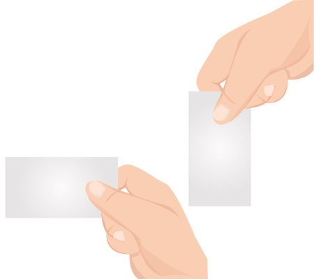 hand holding paper: Hand with blank card graphic  Illustration
