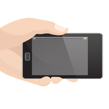 holding smart phone: Horizontal Smart Phone Vector in hand holding graphic vector eps10