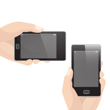 holding smart phone: Vertical and Horizontal Smart Phone Vector with Hand holding graphic vector eps10