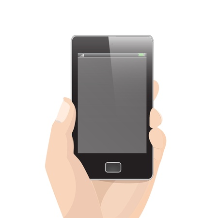 holding smart phone: Vertical Smart Phone Vector with Hand holding graphic vector eps10