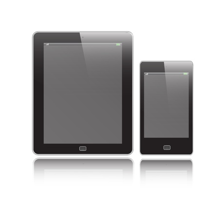 Vertical Tablet and Mobile graphic vector eps10