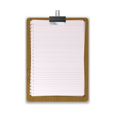 Wooded Clipboard with lined paper graphic vector eps10 Vector