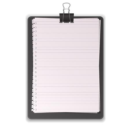 Zwarte Klembord met Document Bekleed grafische vectoreps10