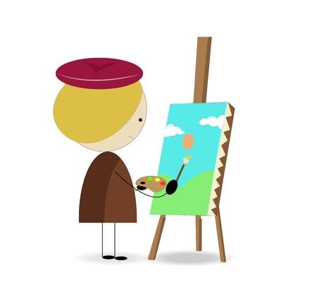 concentrating: kid artist graphic  Illustration