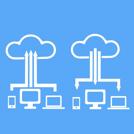 cloud storage with different communication devices graphic