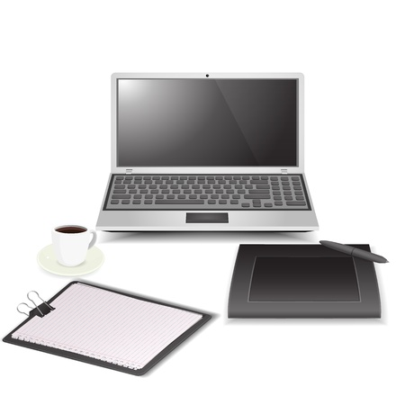 Work Space  Laptop Coffee graphic pen and clipboard paper  graphic vector eps10 Vector