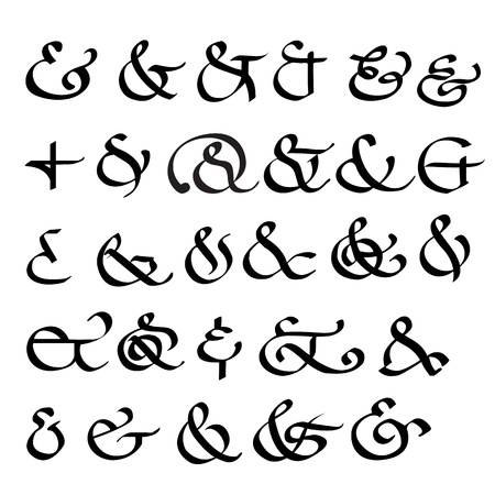 Calligraphic Ampersand Symbols typhographic  Illustration