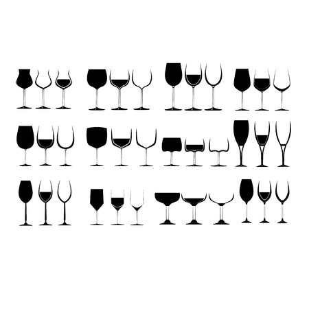Wine Glass Set collection  Vectores