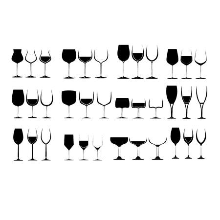 Wine Glass Set collection  Illustration