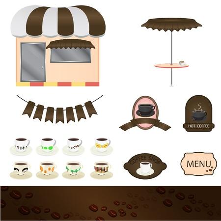 upscale: Coffee shop set graphic  Illustration