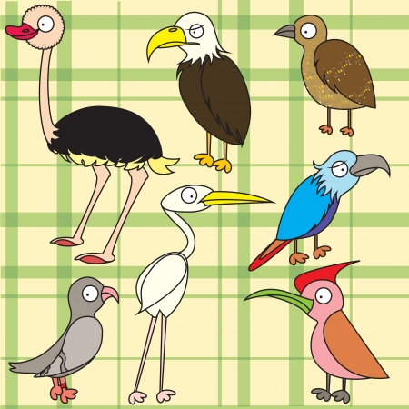 Cartoon bird drawing for kid Vector