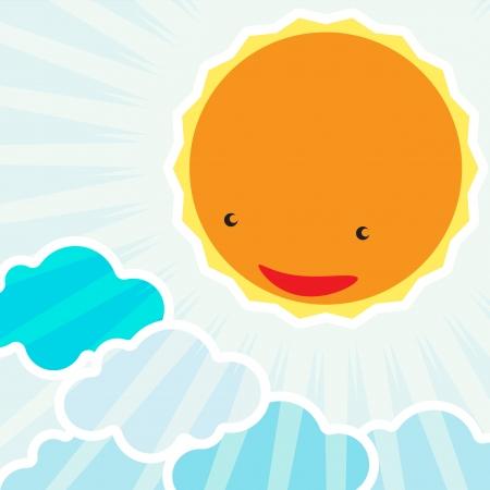 Lever de soleil dans le personnage de dessin animé de fond du matin pour les enfants Banque d'images - 19079742