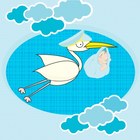 new born baby girl: Background pattern  stork with child