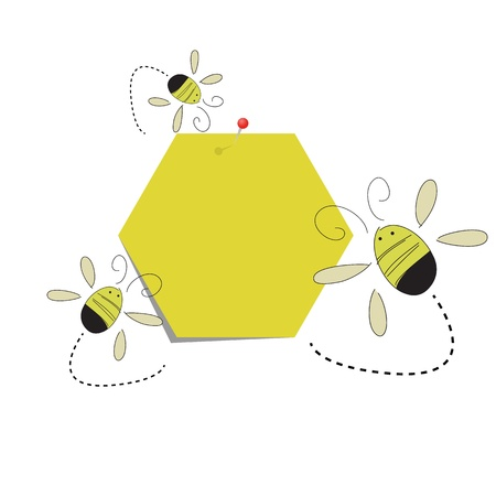 post it note: Post it note honeycomb paper and the bees Illustration